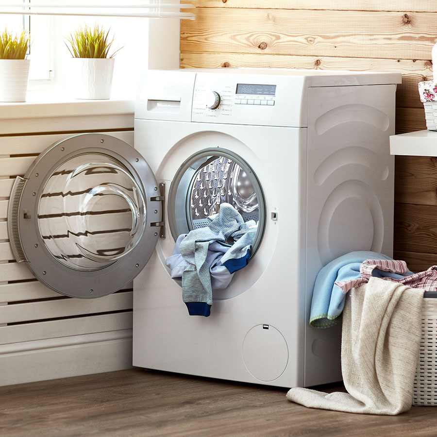 Laundry room with clean fresh clothes